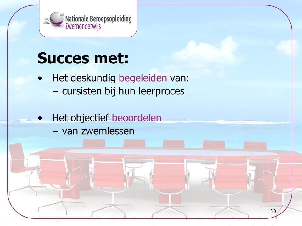 33 Succes met: • Het deskundig begeleiden van: –cursisten bij hun leerproces • Het objectief beoordelen –van zwemlessen