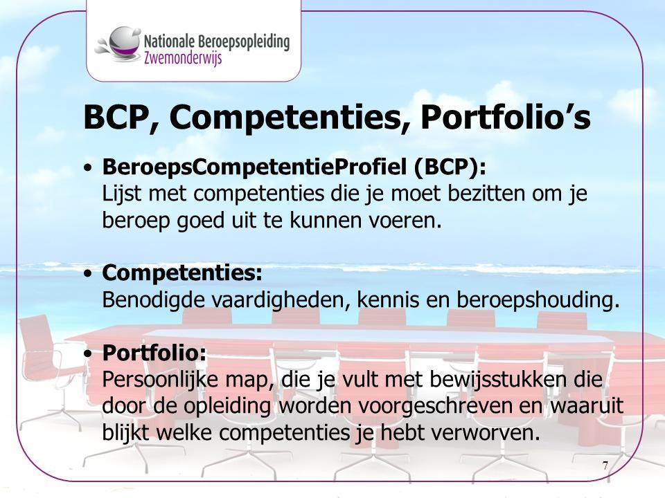 7 BCP, Competenties, Portfolio's •BeroepsCompetentieProfiel (BCP): Lijst met competenties die je moet bezitten om je beroep goed uit te kunnen voeren.