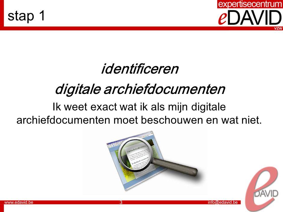 4 stap 2 vastleggen documenten De inhoud en de vorm van de digitale archiefdocumenten liggen in principe vast.