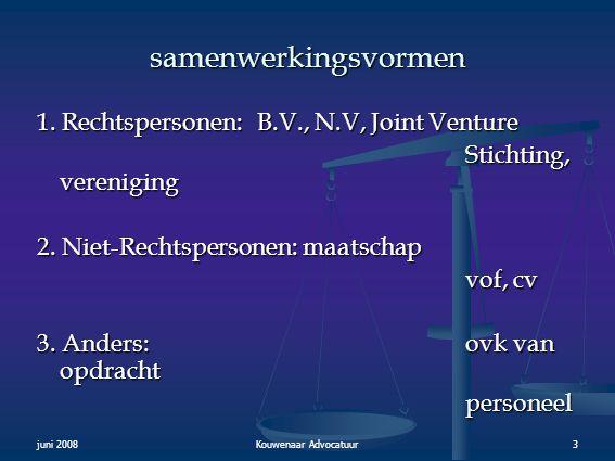juni 2008Kouwenaar Advocatuur3 samenwerkingsvormen 1. Rechtspersonen: B.V., N.V, Joint Venture Stichting, vereniging Stichting, vereniging 2. Niet-Rec