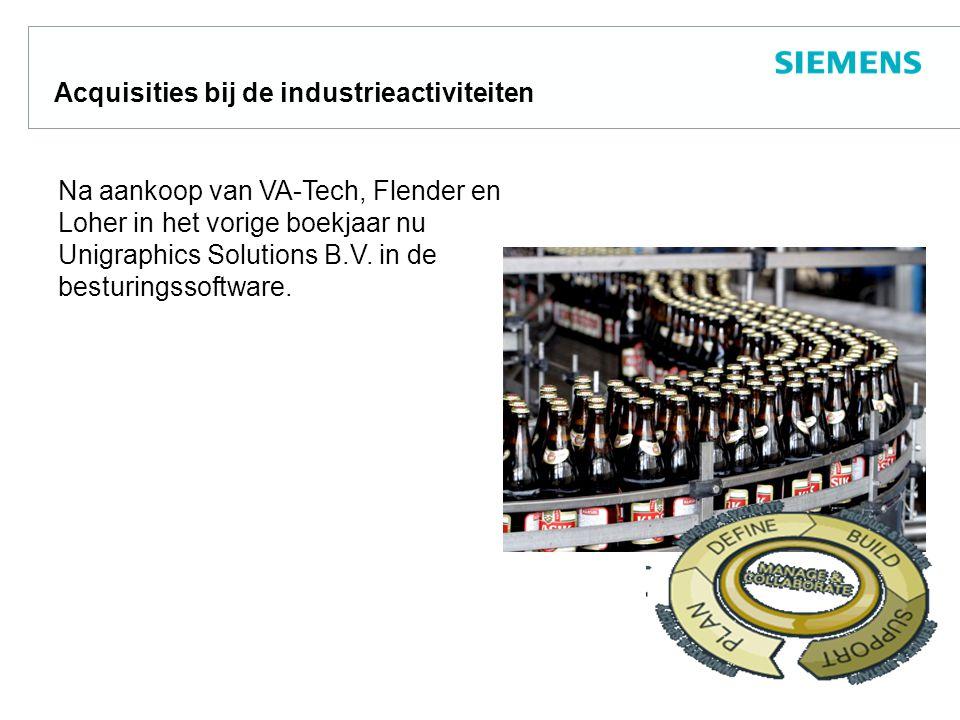 Acquisities bij de industrieactiviteiten Na aankoop van VA-Tech, Flender en Loher in het vorige boekjaar nu Unigraphics Solutions B.V.