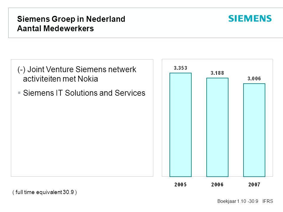 Siemens Groep in Nederland Aantal Medewerkers (-) Joint Venture Siemens netwerk activiteiten met Nokia  Siemens IT Solutions and Services Boekjaar 1.10 -30.9 IFRS ( full time equivalent 30.9 )