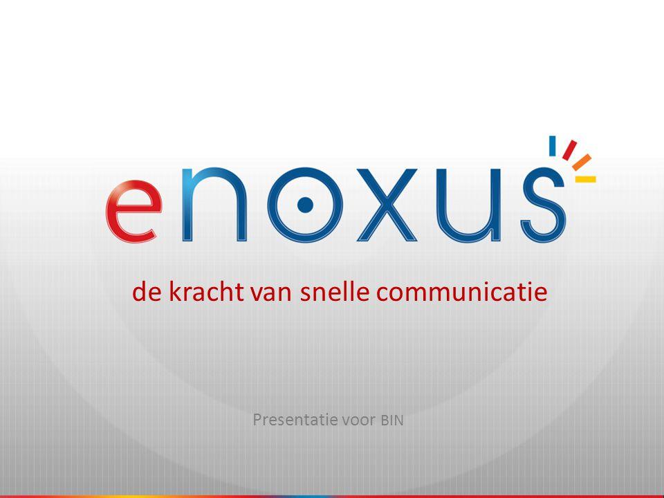 eNoxus Communications • Spin-off van e-COMPASS • Opgericht in maart 2008 • Gevestigd in Zottegem, Bruggenhoek 9 • Aanbieden van interactieve telecommunicatie – Informeren – Alarmeren – Connecteren – Valideren • Nauwe samenwerking met BELGACOM – Telindus ICT • Jarenlange ervaring met buurtinformatienetwerken Provincie Antwerpen