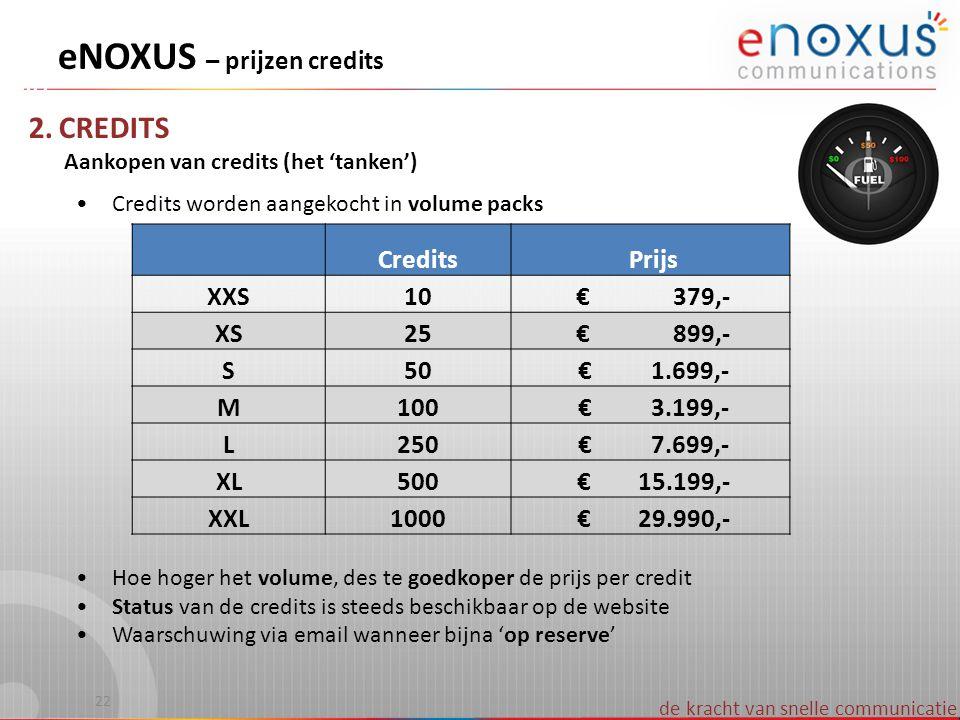 de kracht van snelle communicatie 2. CREDITS Aankopen van credits (het 'tanken') •Credits worden aangekocht in volume packs •Hoe hoger het volume, des
