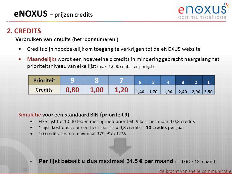de kracht van snelle communicatie 2. CREDITS Verbruiken van credits (het 'consumeren') •Credits zijn noodzakelijk om toegang te verkrijgen tot de eNOX