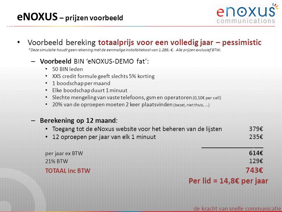 de kracht van snelle communicatie eNOXUS – prijzen voorbeeld • Voorbeeld bereking totaalprijs voor een volledig jaar – pessimistic *Deze simulatie hou