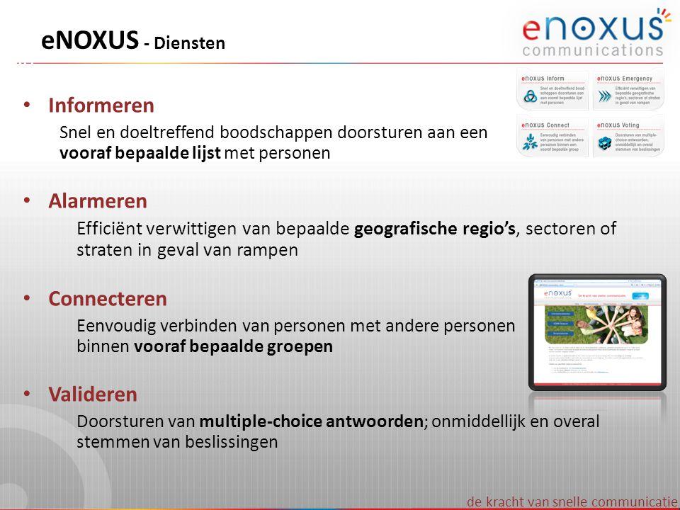 de kracht van snelle communicatie eNOXUS - Diensten • Informeren Snel en doeltreffend boodschappen doorsturen aan een vooraf bepaalde lijst met person