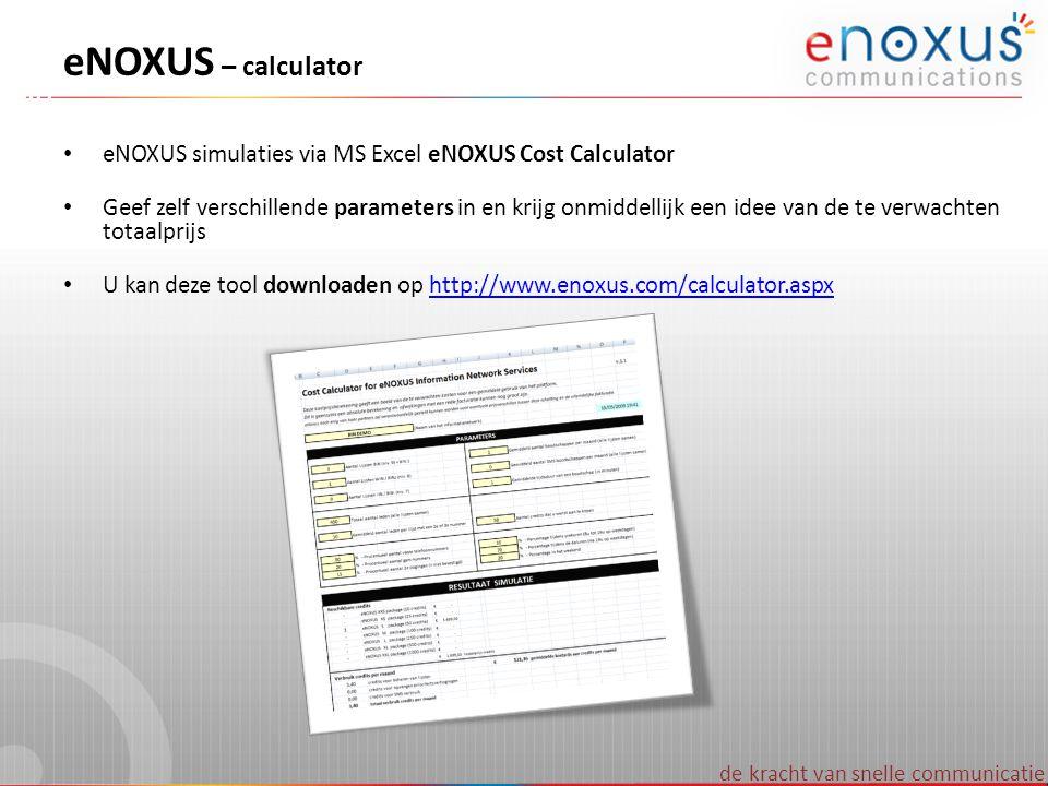 de kracht van snelle communicatie eNOXUS – calculator • eNOXUS simulaties via MS Excel eNOXUS Cost Calculator • Geef zelf verschillende parameters in
