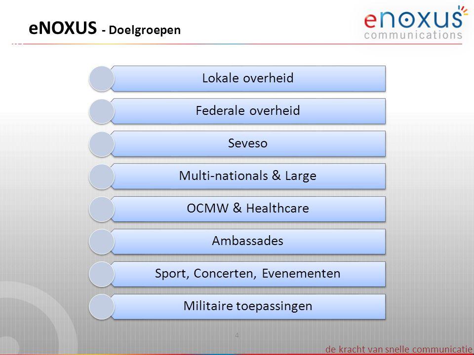de kracht van snelle communicatie 4 eNOXUS - Doelgroepen Lokale overheid Federale overheid Seveso Multi-nationals & Large OCMW & Healthcare Ambassades