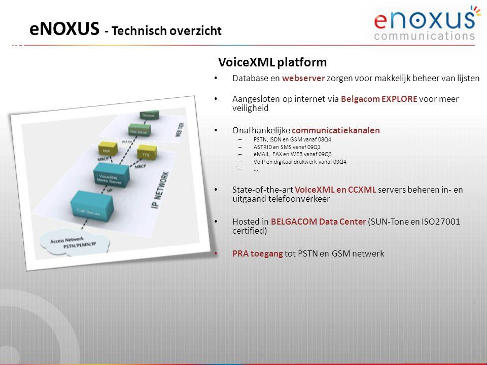 VoiceXML platform eNOXUS - Technisch overzicht • Database en webserver zorgen voor makkelijk beheer van lijsten • Aangesloten op internet via Belgacom