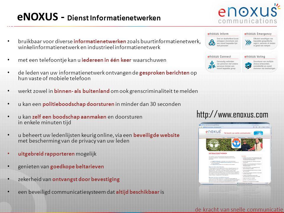 de kracht van snelle communicatie eNOXUS - Dienst Informatienetwerken • bruikbaar voor diverse informatienetwerken zoals buurtinformatienetwerk, winke