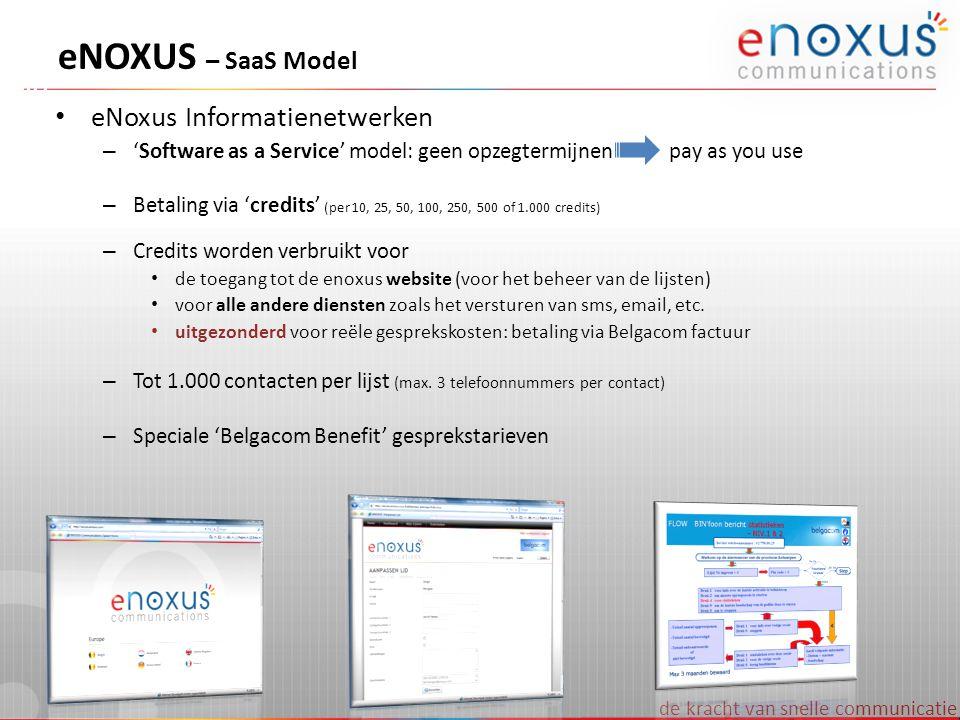 de kracht van snelle communicatie eNOXUS – calculator • eNOXUS simulaties via MS Excel eNOXUS Cost Calculator • Geef zelf verschillende parameters in en krijg onmiddellijk een idee van de te verwachten totaalprijs • U kan deze tool downloaden op http://www.enoxus.com/calculator.aspxhttp://www.enoxus.com/calculator.aspx