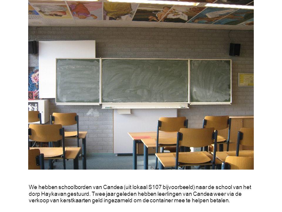 We hebben schoolborden van Candea (uit lokaal S107 bijvoorbeeld) naar de school van het dorp Haykavan gestuurd.