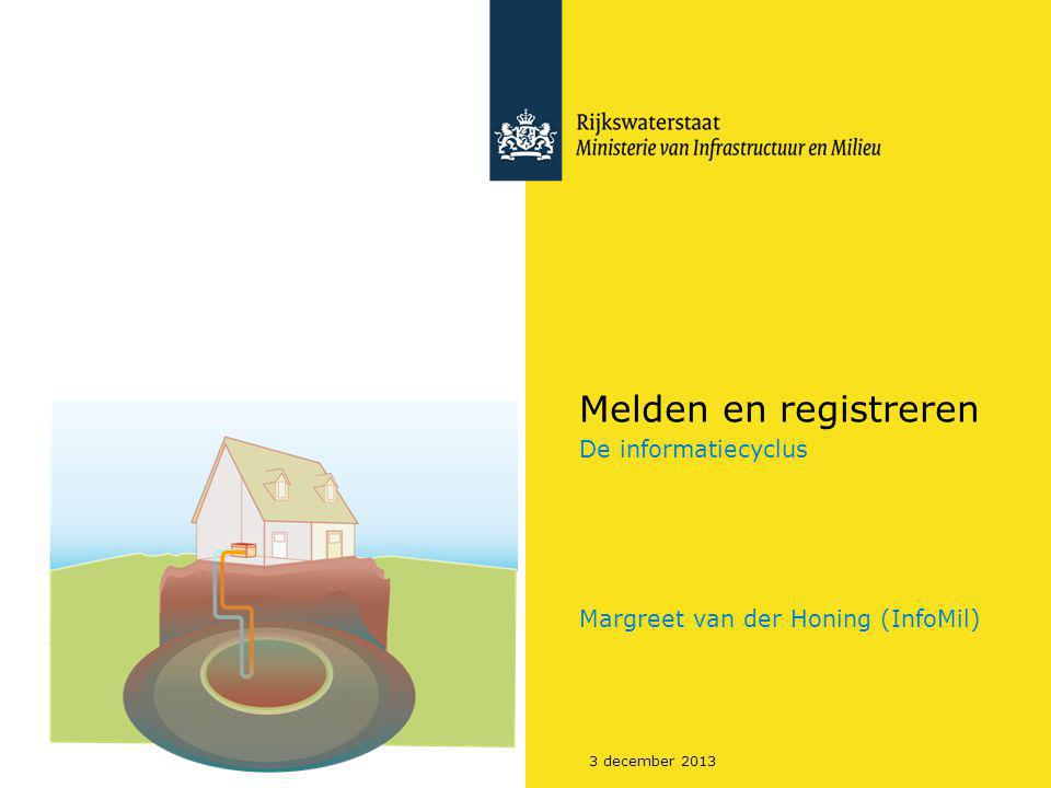 3 december 2013 Melden en registreren De informatiecyclus Margreet van der Honing (InfoMil)