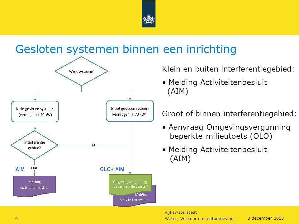 Rijkswaterstaat 6Water, Verkeer en Leefomgeving 3 december 2013 Gesloten systemen binnen een inrichting Klein en buiten interferentiegebied: • Melding