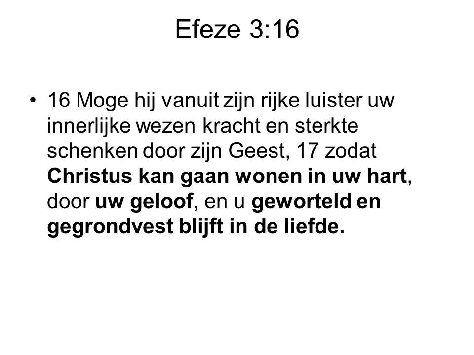 Efeze 3:16 •16 Moge hij vanuit zijn rijke luister uw innerlijke wezen kracht en sterkte schenken door zijn Geest, 17 zodat Christus kan gaan wonen in