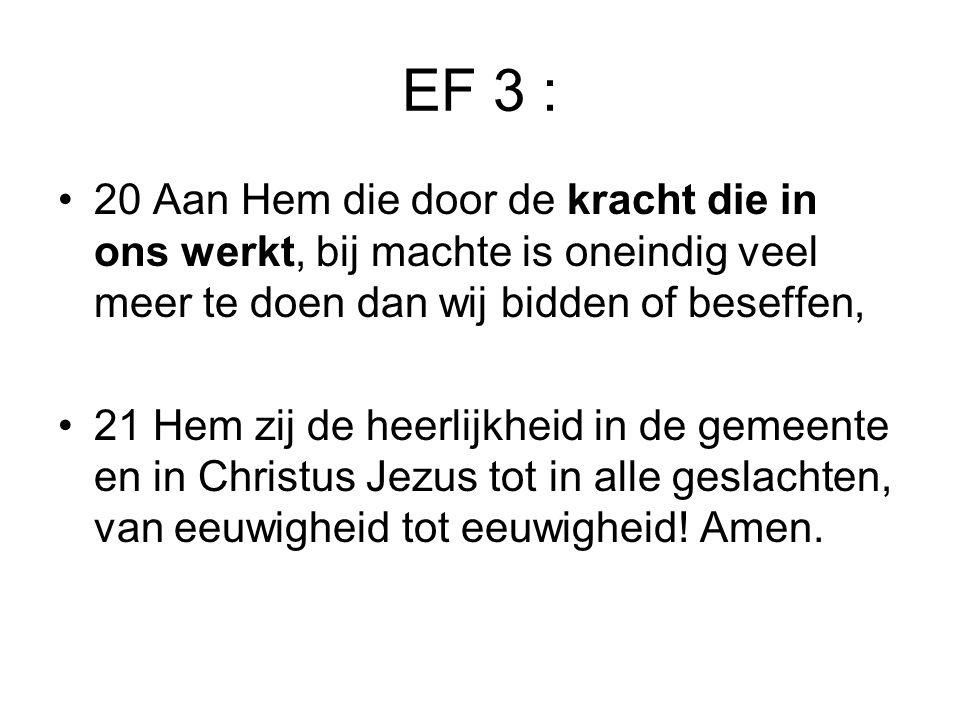 EF 3 : •20 Aan Hem die door de kracht die in ons werkt, bij machte is oneindig veel meer te doen dan wij bidden of beseffen, •21 Hem zij de heerlijkhe