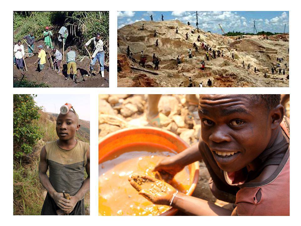 Hoe wordt coltan ontgonnen? •De werkmethoden zijn dezelfde als die van de goudzoekers van West Amerika in de XIX ste eeuw.