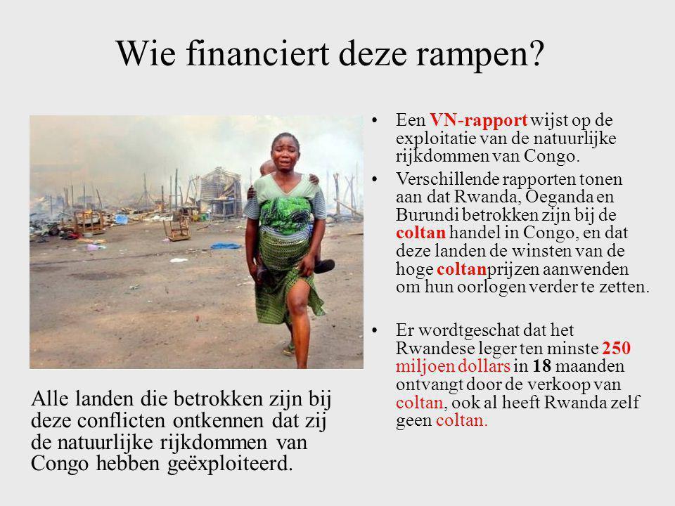 Gevolgen op het grondgebied •Om de coltan in Congo te ontginnen, worden de Nationale Parken binnengedrongen en overweldigd. •De coltan mijnwerkers wer