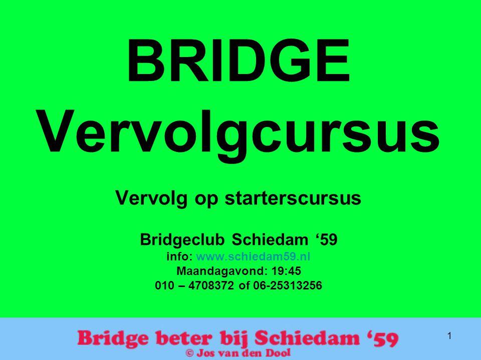 1 BRIDGE Vervolgcursus Vervolg op starterscursus Bridgeclub Schiedam '59 info: www.schiedam59.nl Maandagavond: 19:45 010 – 4708372 of 06-25313256