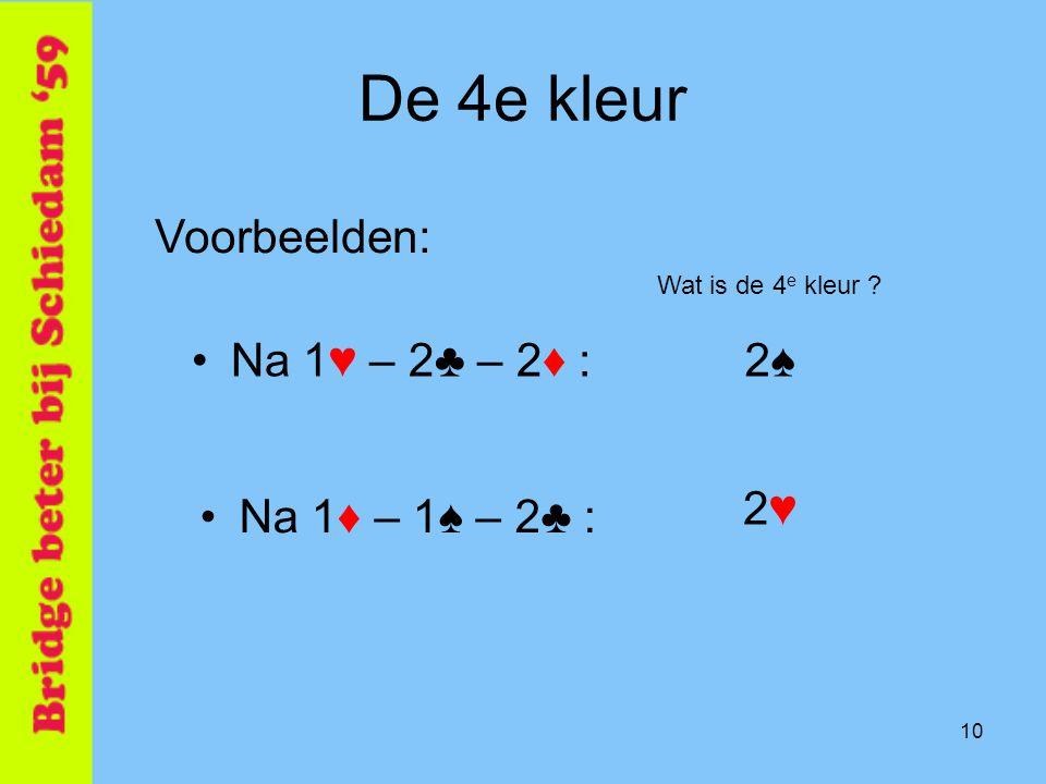 10 De 4e kleur •Na 1♥ – 2♣ – 2♦ : Voorbeelden: •Na 1♦ – 1♠ – 2♣ : 2♠2♠ Wat is de 4 e kleur ? 2♥2♥
