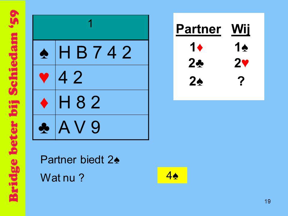 19 1 ♠H B 7 4 2 ♥4 2 ♦H 8 2 ♣A V 9 PartnerWij 1♠1♠ .