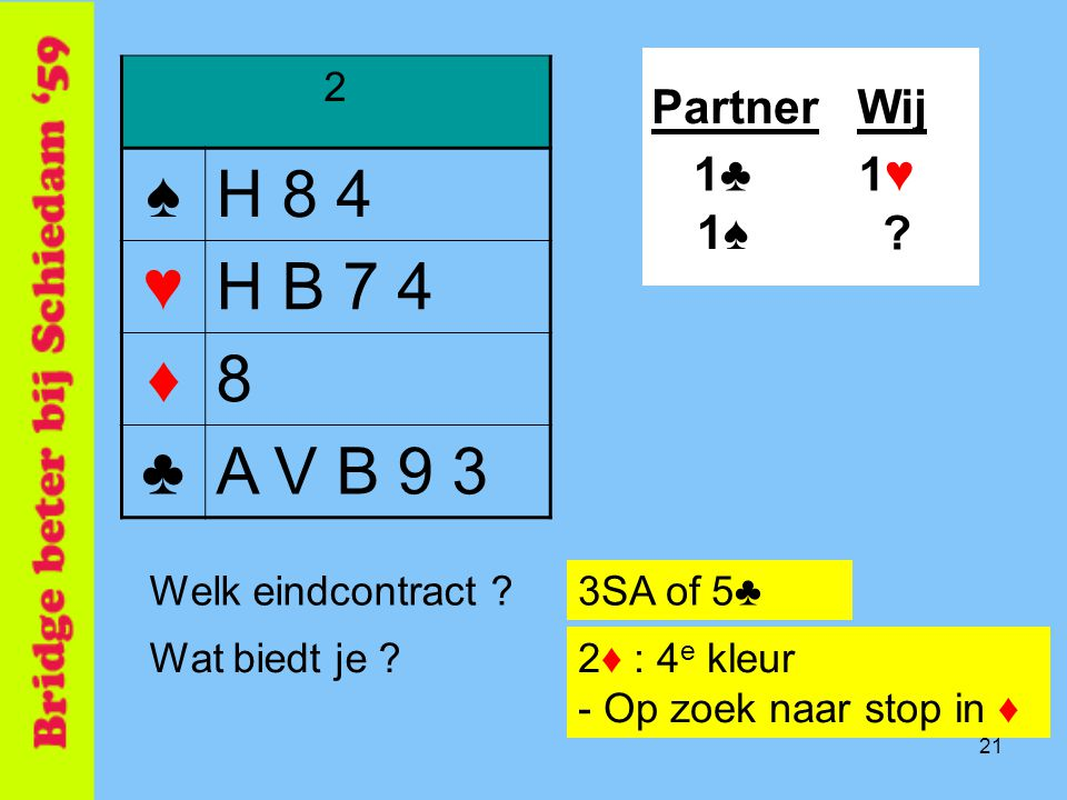 21 2 ♠H 8 4 ♥H B 7 4 ♦8 ♣A V B 9 3 PartnerWij 1♠1♠ .
