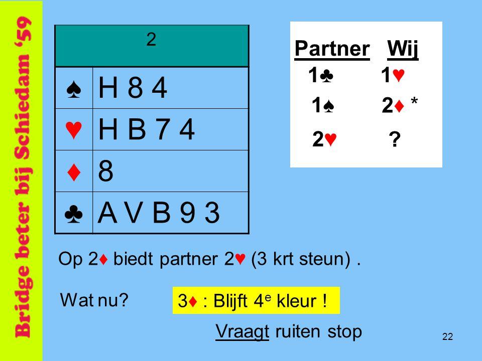 22 2 ♠H 8 4 ♥H B 7 4 ♦8 ♣A V B 9 3 PartnerWij .2♦ * Wat nu.