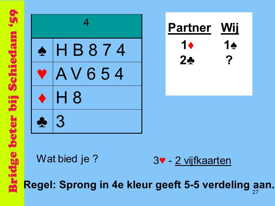 27 4 ♠H B 8 7 4 ♥A V 6 5 4 ♦H 8 ♣3 PartnerWij 1♠1♠ ?2♣2♣ 1♦1♦ Wat bied je .