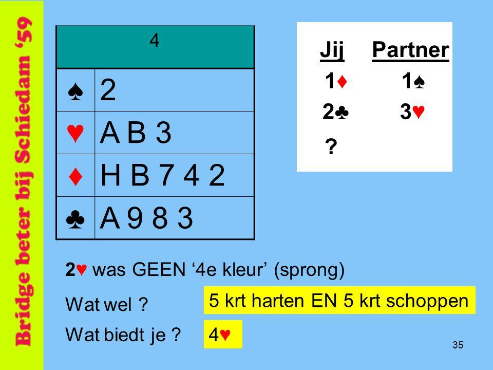 35 4 ♠2 ♥A B 3 ♦H B 7 4 2 ♣A 9 8 3 JijPartner 1♠1♠ 3♥3♥2♣2♣ 1♦1♦ Wat biedt je ?4♥4♥ 2♥ was GEEN '4e kleur' (sprong) .