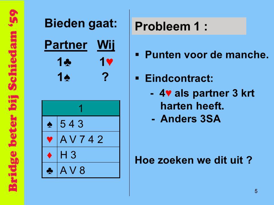 5 Bieden gaat: 1 ♠5 4 3 ♥A V 7 4 2 ♦H 3 ♣A V 8 PartnerWij Probleem 1 :  Punten voor de manche.