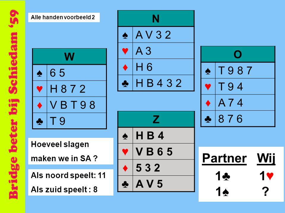 7 N ♠A V 3 2 ♥A 3 ♦H 6 ♣H B 4 3 2 O ♠T 9 8 7 ♥T 9 4 ♦A 7 4 ♣8 7 6 Z ♠H B 4 ♥V B 6 5 ♦5 3 2 ♣A V 5 W ♠6 5 ♥H 8 7 2 ♦V B T 9 8 ♣T 9 Hoeveel slagen maken we in SA .