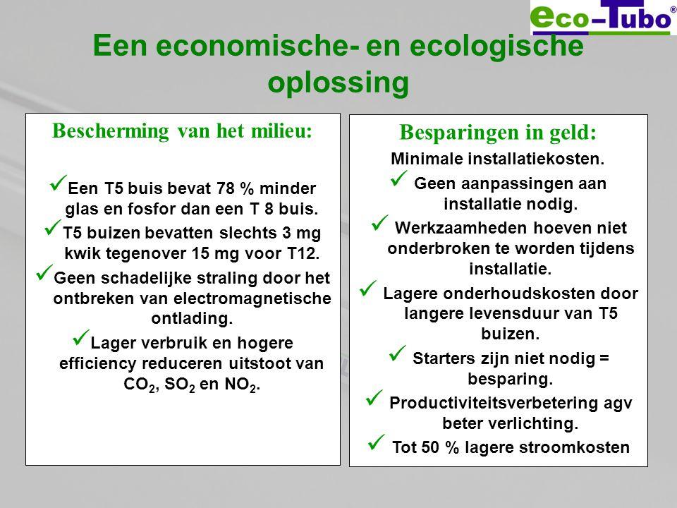 Een economische- en ecologische oplossing Bescherming van het milieu:  Een T5 buis bevat 78 % minder glas en fosfor dan een T 8 buis.  T5 buizen bev