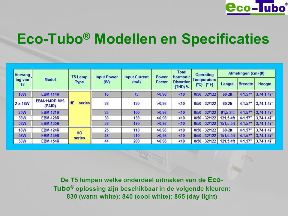 Eco-Tubo ® Modellen en Specificaties De T5 lampen welke onderdeel uitmaken van de Eco- Tubo ® oplossing zijn beschikbaar in de volgende kleuren: 830 (