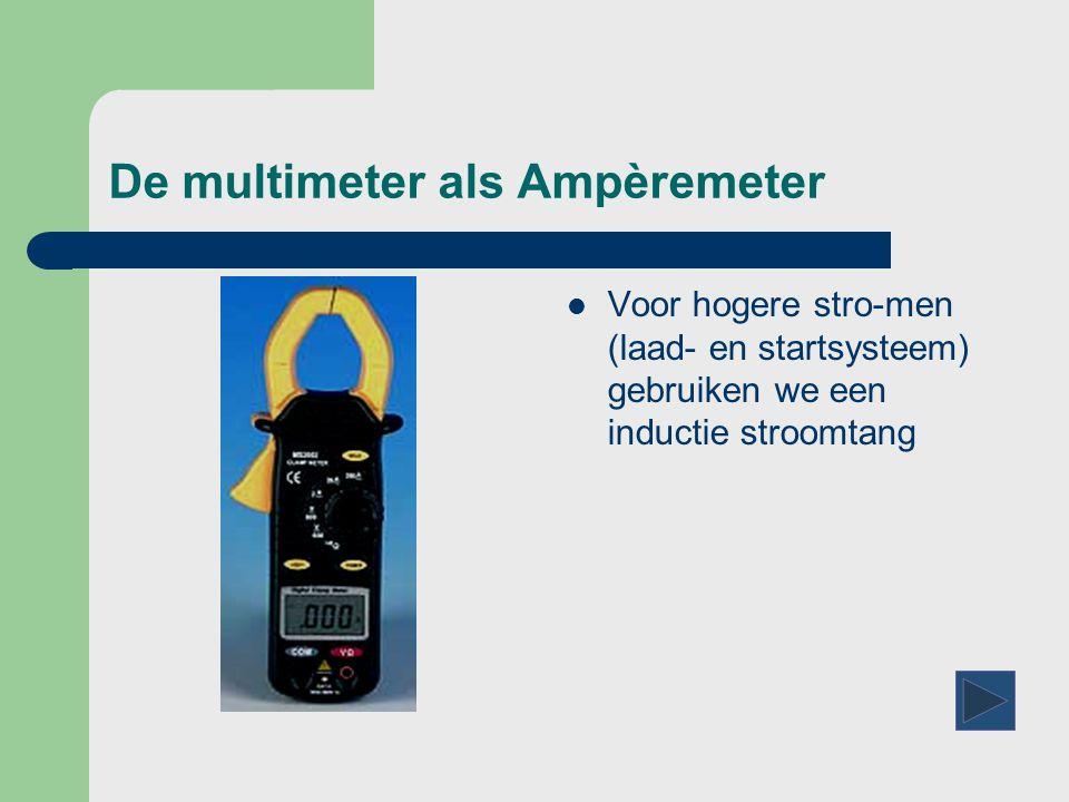 De multimeter als Ampèremeter  Voor hogere stro-men (laad- en startsysteem) gebruiken we een inductie stroomtang