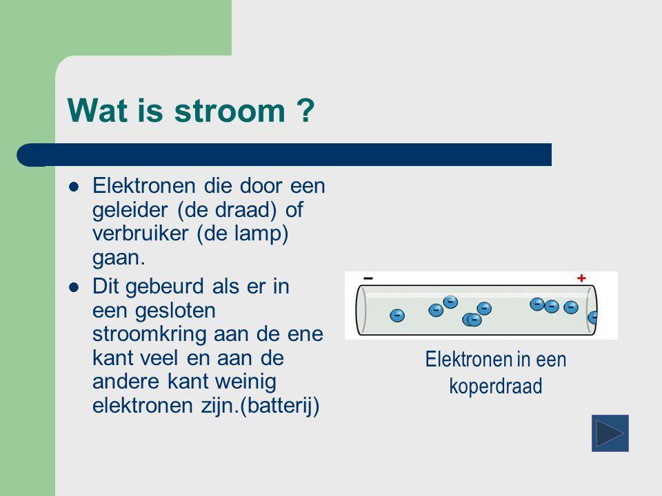 Wat is stroom . Elektronen die door een geleider (de draad) of verbruiker (de lamp) gaan.