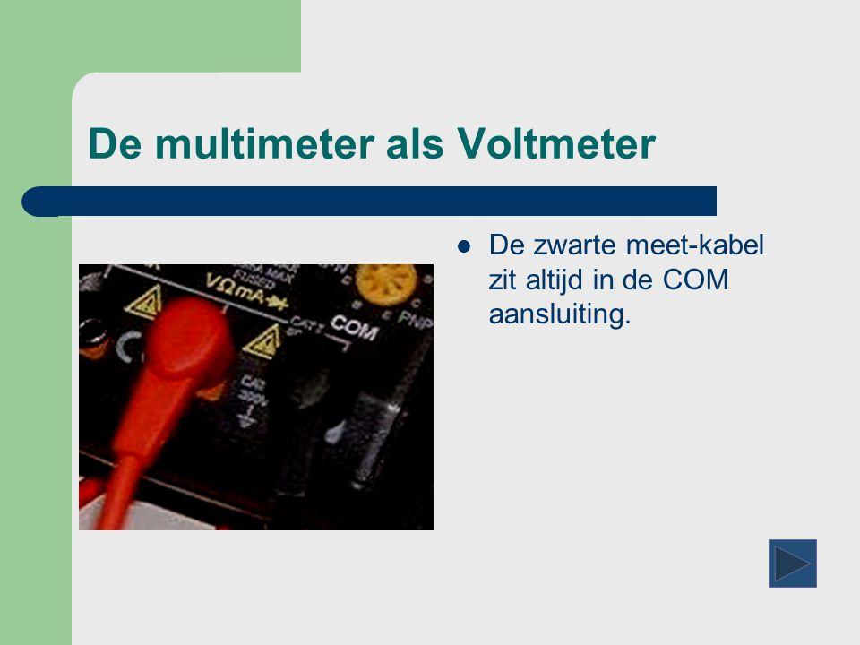 Nog een paar vraagjes  Met de multimeter kunnen we stroom meten  Bij een stroom meting wordt de multimeter  Tot 100 A Tot 100 A  Tot 10 A Tot 10 A – Klik op het juiste antwoord.