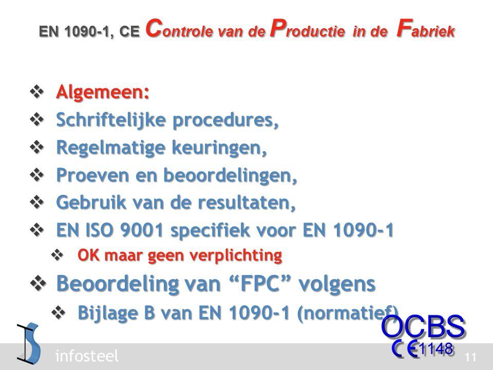 infosteel  Algemeen:  Schriftelijke procedures,  Regelmatige keuringen,  Proeven en beoordelingen,  Gebruik van de resultaten,  EN ISO 9001 specifiek voor EN 1090-1  OK maar geen verplichting  Beoordeling van FPC volgens  Bijlage B van EN 1090-1 (normatief) 11 EN 1090-1, CE C ontrole van de P roductie in de F abriek