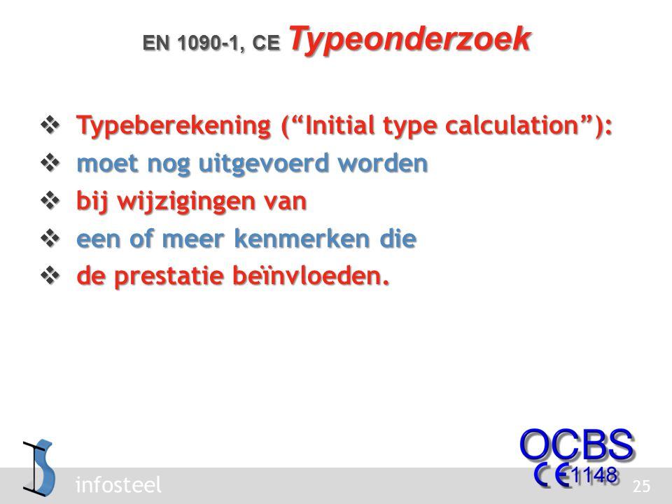 infosteel  Typeberekening ( Initial type calculation ):  moet nog uitgevoerd worden  bij wijzigingen van  een of meer kenmerken die  de prestatie beïnvloeden.