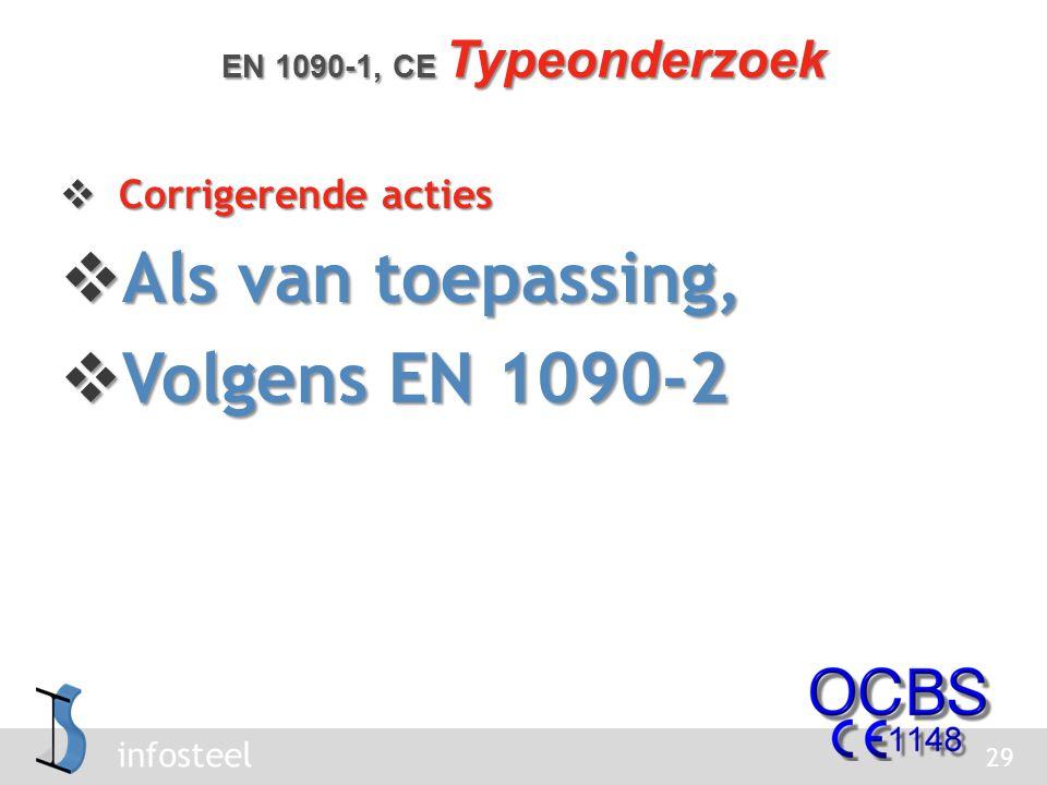 infosteel  Corrigerende acties  Als van toepassing,  Volgens EN 1090-2 29 EN 1090-1, CE Typeonderzoek