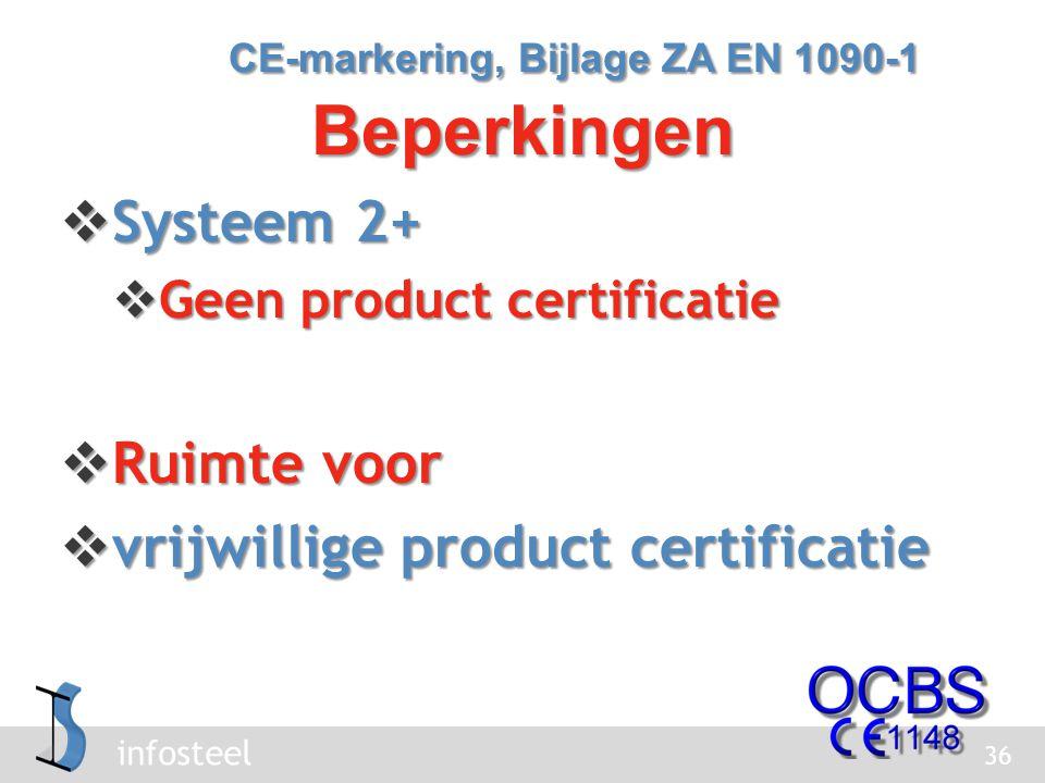 infosteel  Systeem 2+  Geen product certificatie  Ruimte voor  vrijwillige product certificatie 36 CE-markering, Bijlage ZA EN 1090-1 Beperkingen