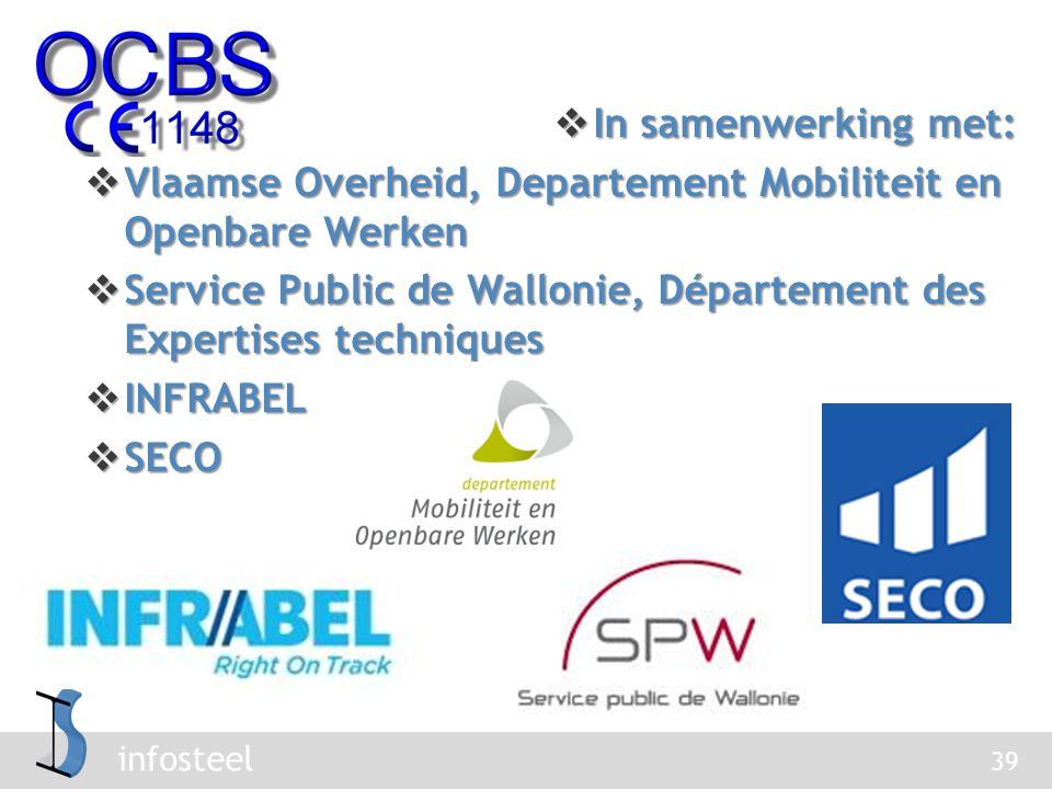 infosteel 39  In samenwerking met:  Vlaamse Overheid, Departement Mobiliteit en Openbare Werken  Service Public de Wallonie, Département des Expertises techniques  INFRABEL  SECO
