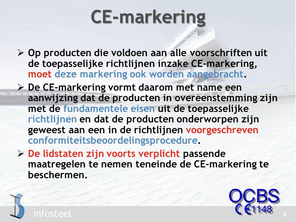 infosteel  Op producten die voldoen aan alle voorschriften uit de toepasselijke richtlijnen inzake CE-markering, moet deze markering ook worden aangebracht.