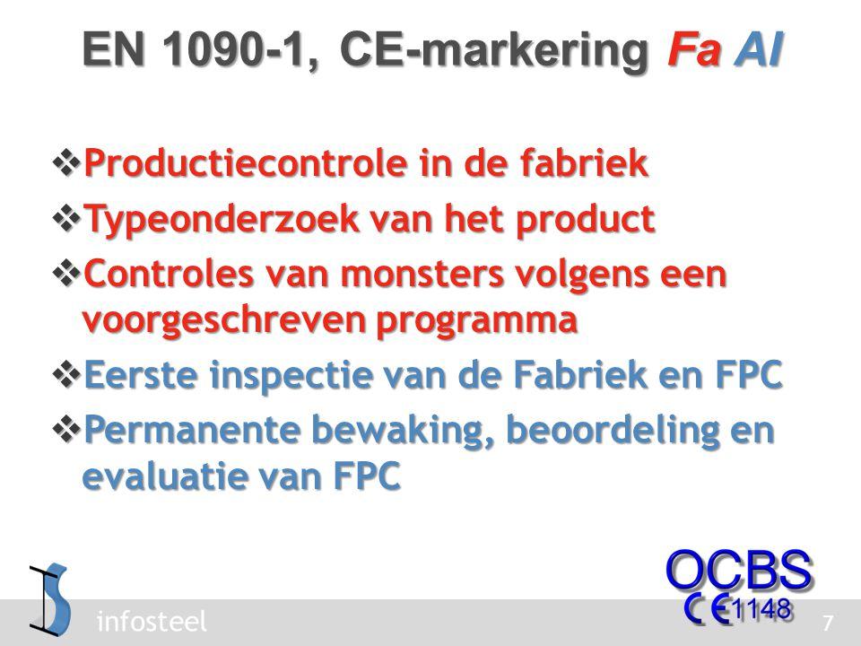 infosteel  Productiecontrole in de fabriek  Typeonderzoek van het product  Controles van monsters volgens een voorgeschreven programma  Eerste inspectie van de Fabriek en FPC  Permanente bewaking, beoordeling en evaluatie van FPC 7 EN 1090-1, CE-markering Fa AI