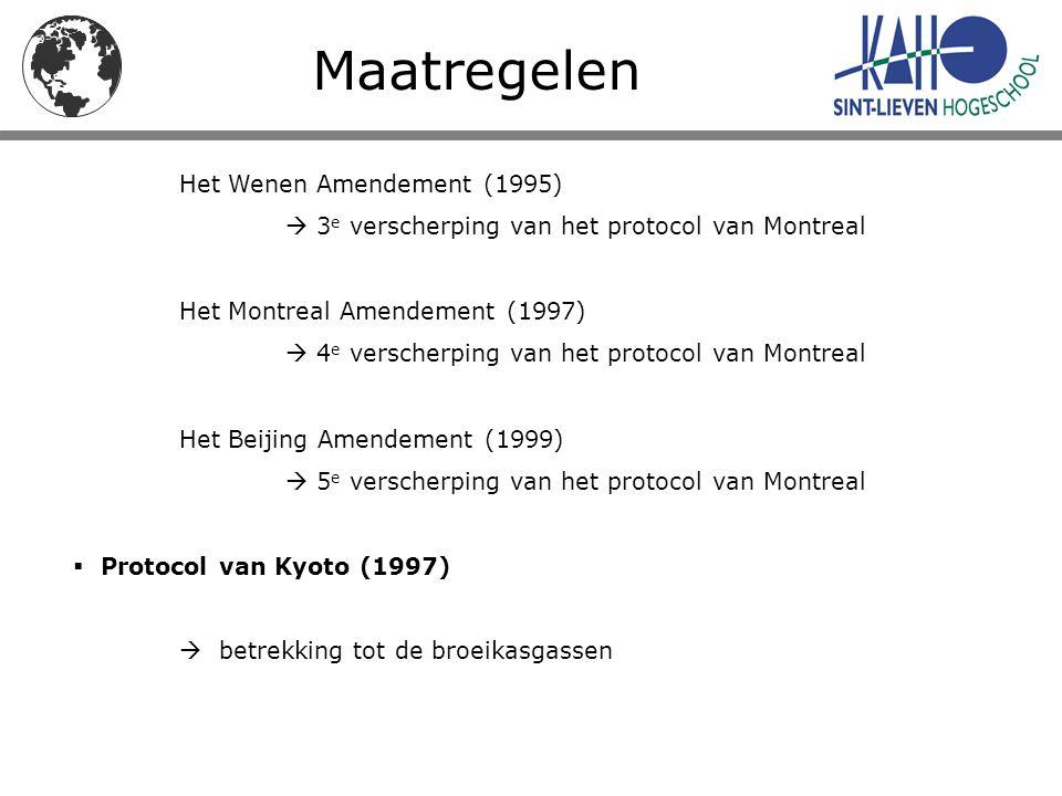 Maatregelen Het Wenen Amendement (1995)  3 e verscherping van het protocol van Montreal Het Montreal Amendement (1997)  4 e verscherping van het pro