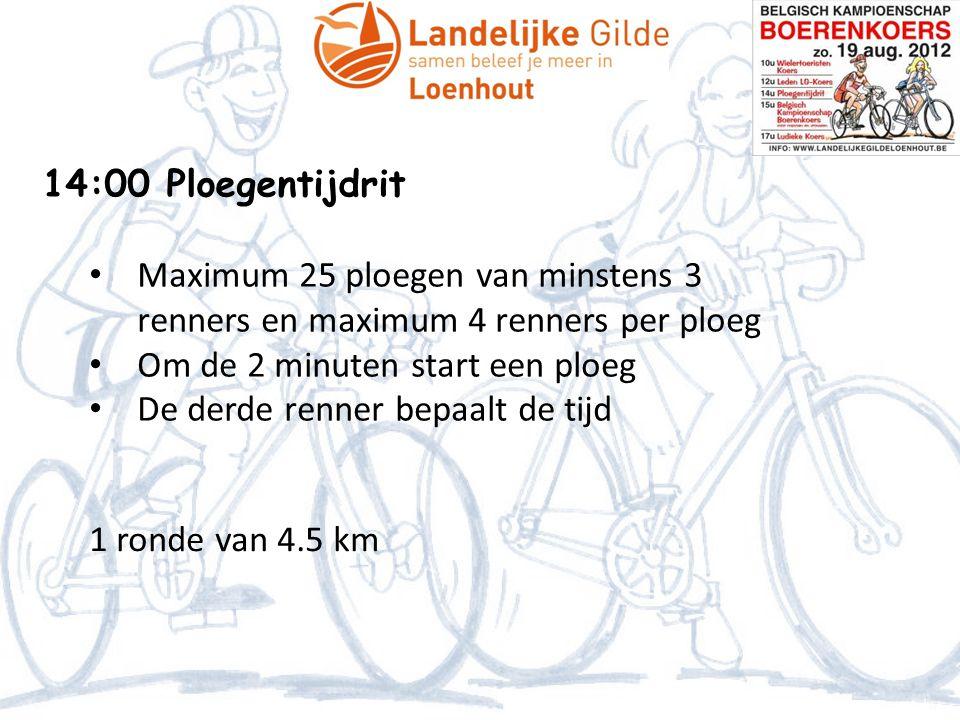 14:00 Ploegentijdrit • Maximum 25 ploegen van minstens 3 renners en maximum 4 renners per ploeg • Om de 2 minuten start een ploeg • De derde renner bepaalt de tijd 1 ronde van 4.5 km
