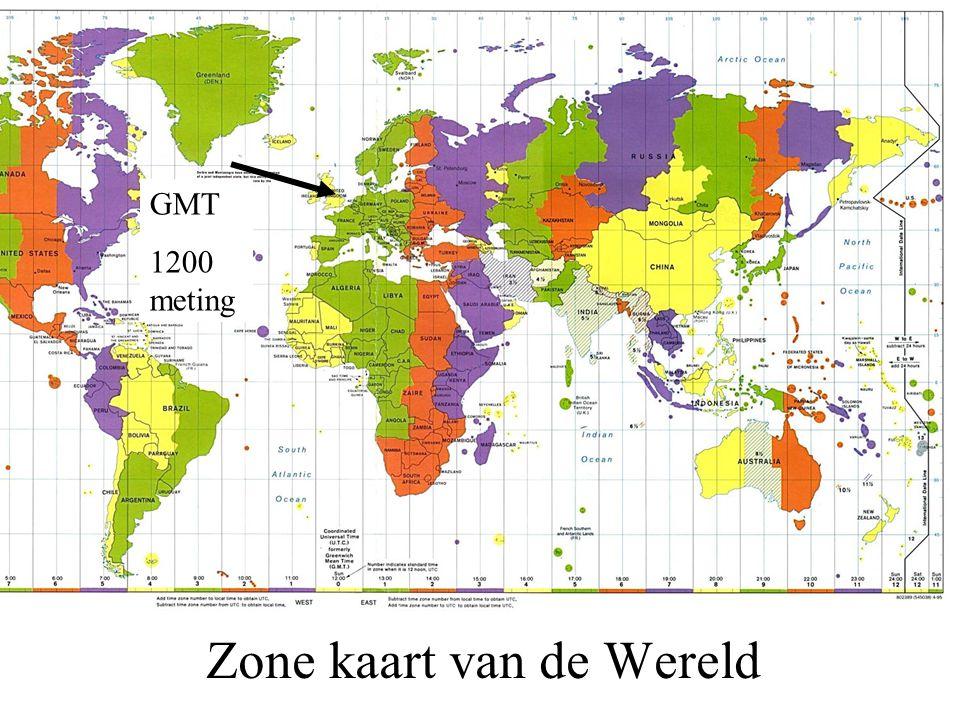 Zone kaart van de Wereld GMT 1200 meting