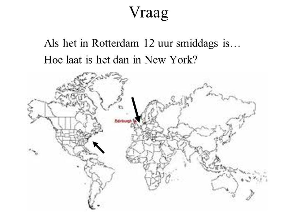 Vraag Als het in Rotterdam 12 uur smiddags is… Hoe laat is het dan in New York?