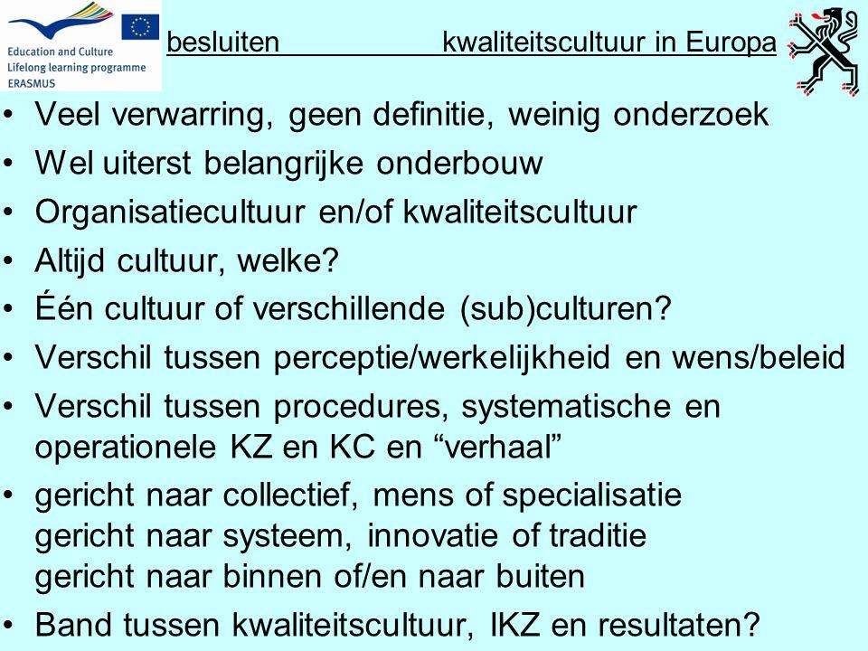 besluiten kwaliteitscultuur in Europa •Veel verwarring, geen definitie, weinig onderzoek •Wel uiterst belangrijke onderbouw •Organisatiecultuur en/of