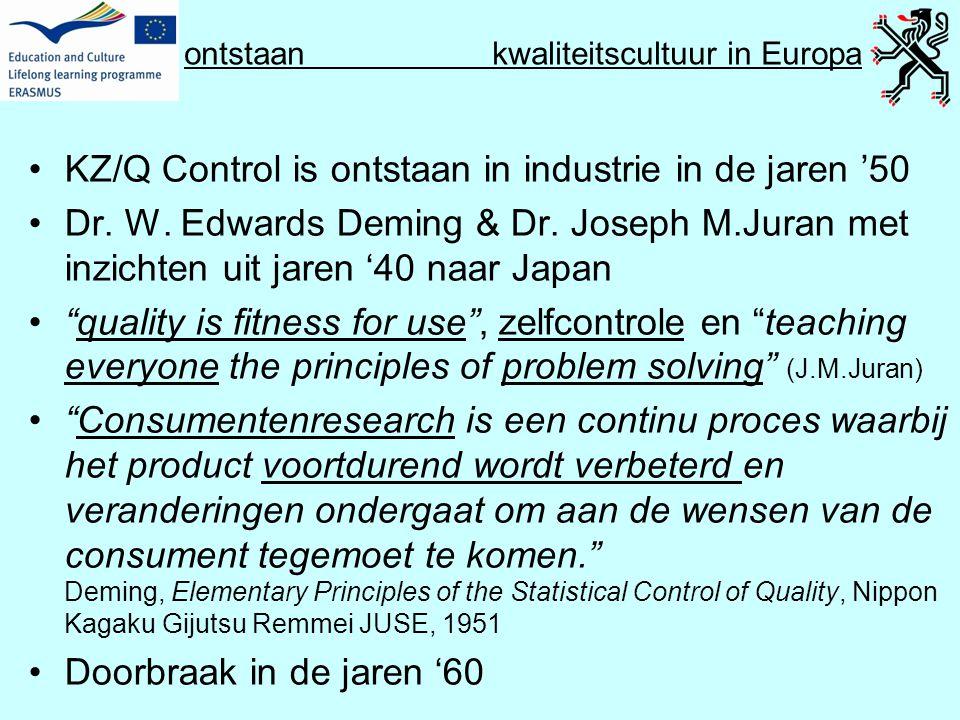 ontstaan kwaliteitscultuur in Europa •KZ/Q Control is ontstaan in industrie in de jaren '50 •Dr. W. Edwards Deming & Dr. Joseph M.Juran met inzichten